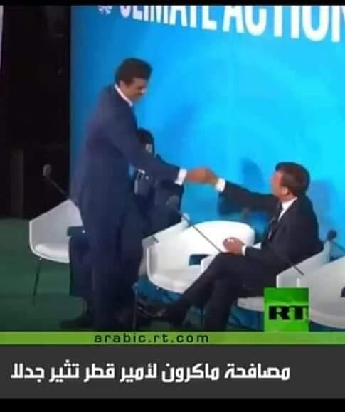 """جدل حول الطريقة """"الغريبة"""" التى صافح بها ماكرون أمير قطر  (ثورة)"""